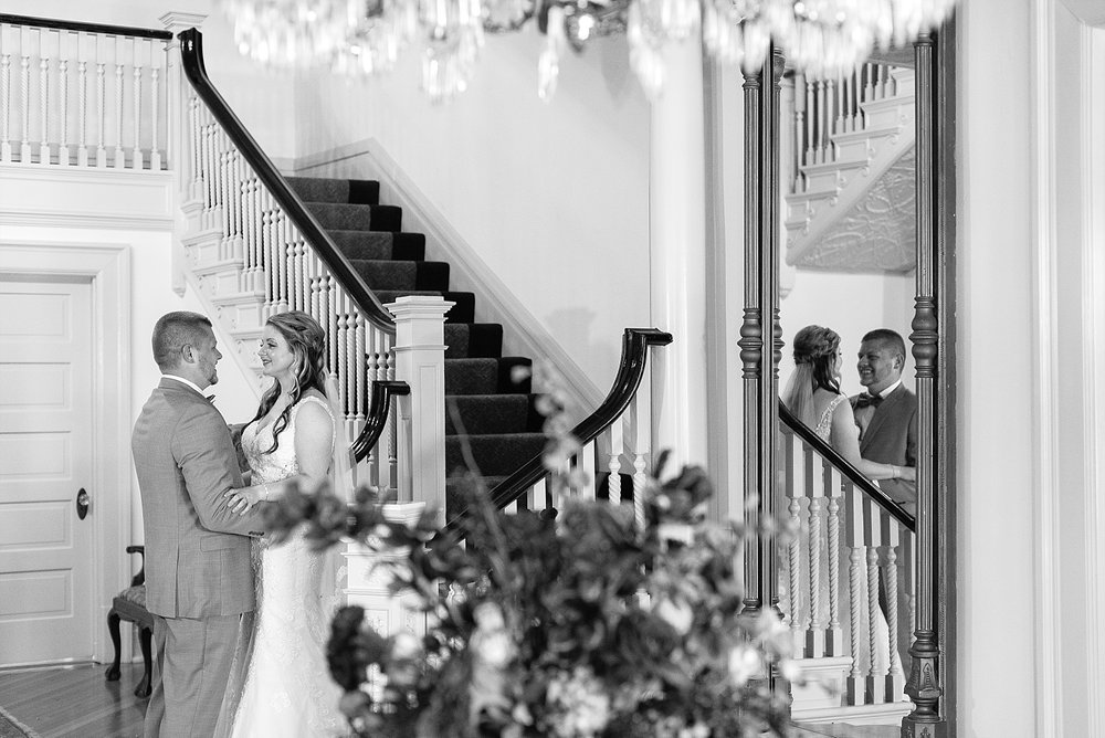 Megan and Chase did their sweet first look at the bottom of the grand staircase.