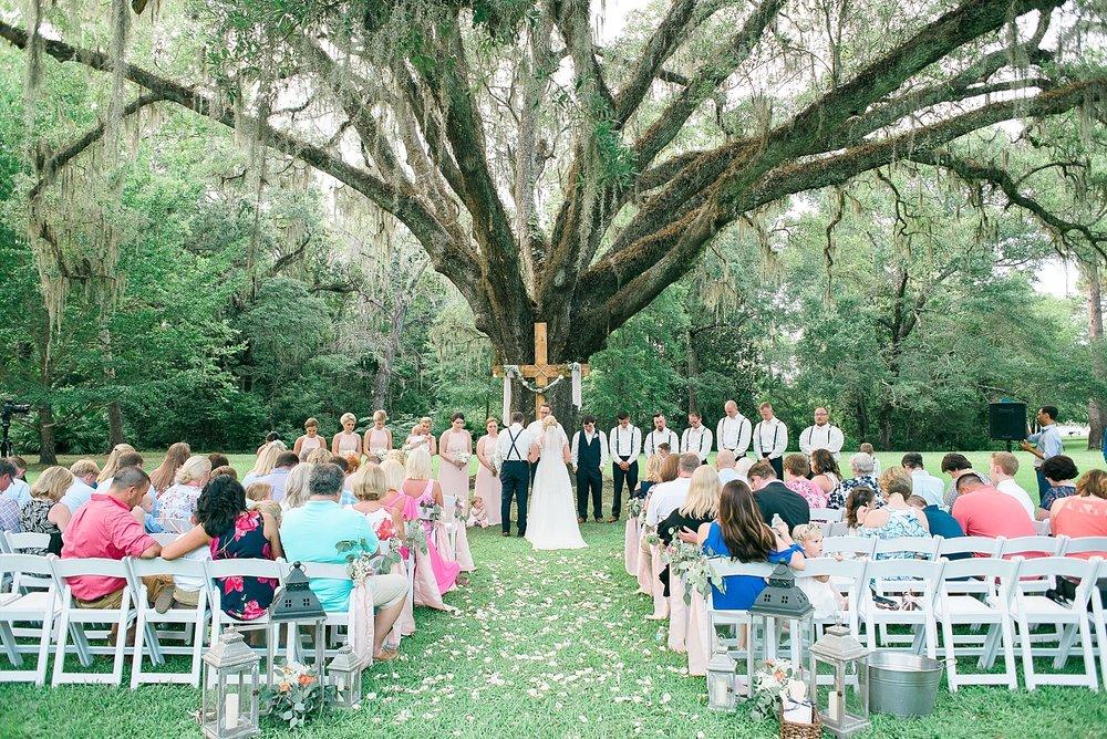 "A beautiful wedding ceremony under the ""wedding tree""."