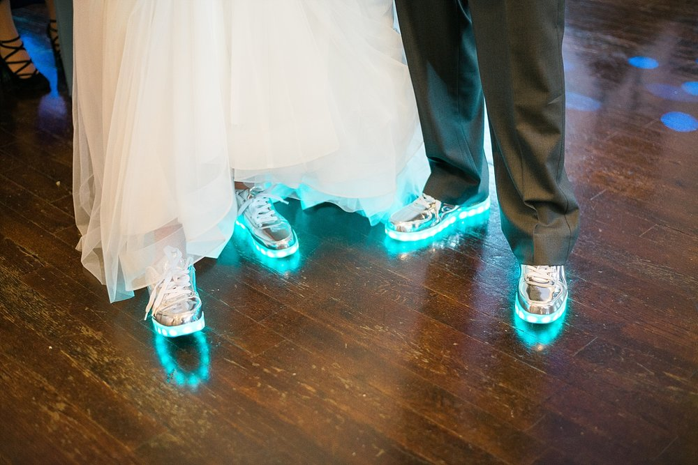 Light up reception shoes for the win!