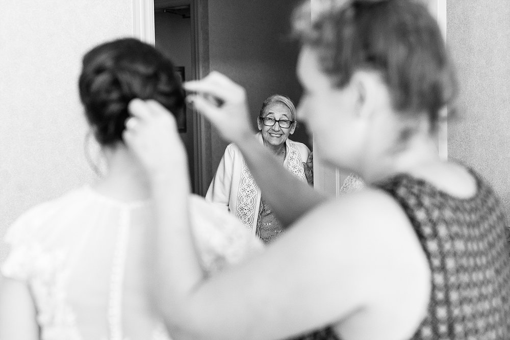 Isn't that precious of Miranda's granny looking in as she gets ready?