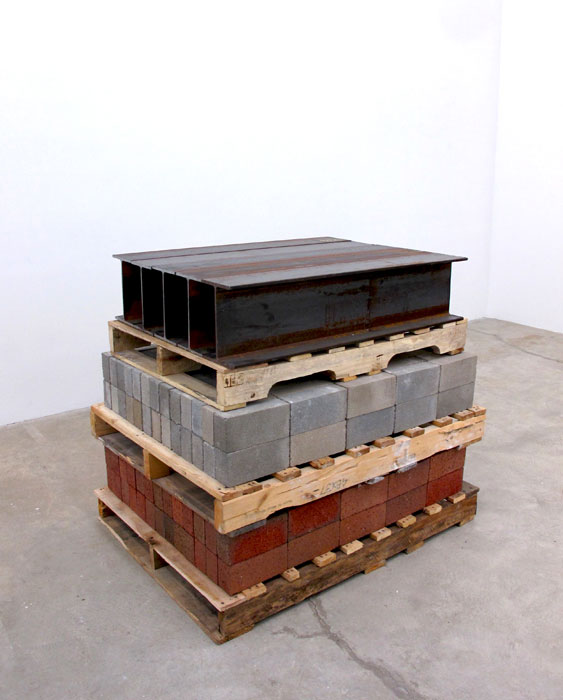 Charles Harlan,  Pallets , 2012, wood, brick, cement block, steel 37.5 x 32 x 43 in
