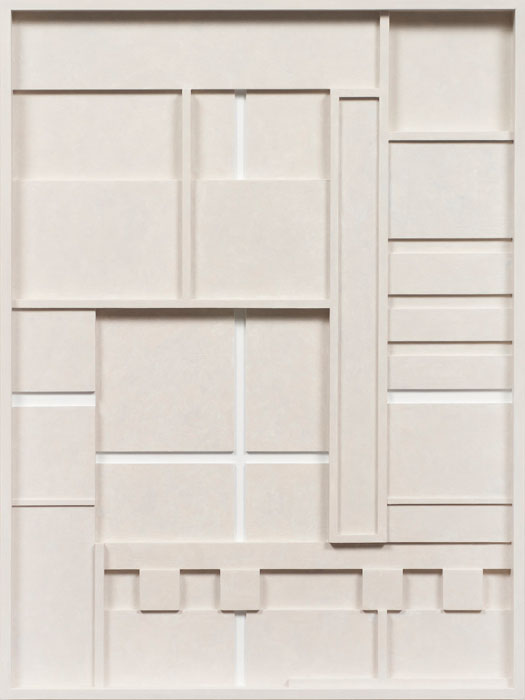 John Pittman,  #201 - Crossing White , 2011 alkyd on wood relief 20 x 15 x 1.5 in