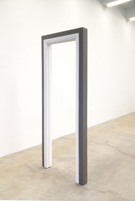 Aaron Aujla,  Doorway , 2012,  wood, steel, nails, wood fill, latex paint, 86 x 34 x 4 in