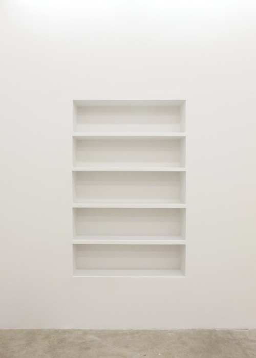 Aaron Aujla,  Bookshelf , 2013, wood, nails, plaster, wood fill, latex paint 71 x 46 x 12 in