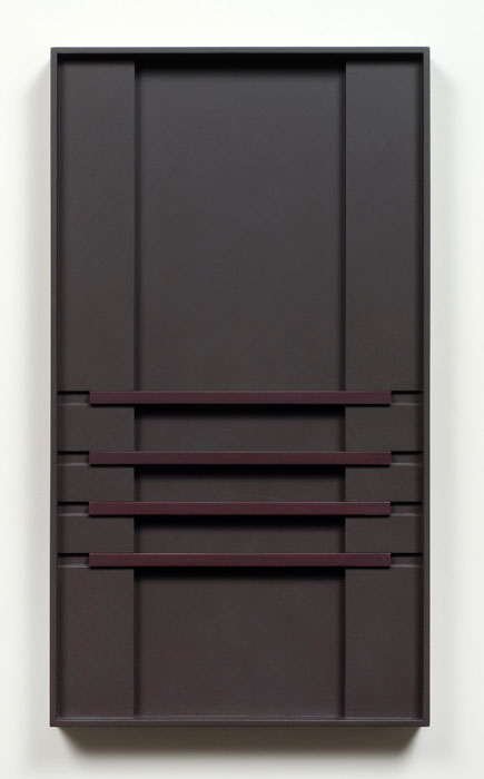 John Pittman,  #185 - Sable Shadow , 2010, alkyd on wood relief 18 x 10 x 1.5 in