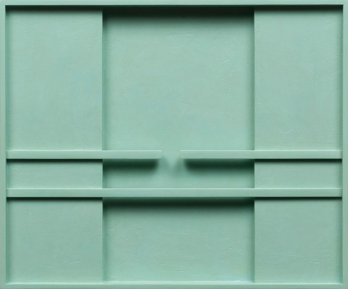 John Pittman,  Composition #174 - Deco Green , 2009, alkyd on wood relief, 10 x 12 x 1.5 in