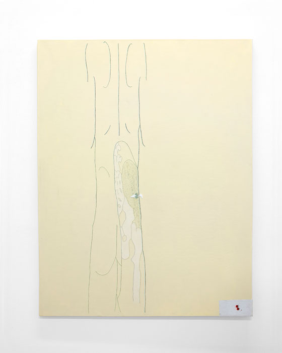 Aleksander Hardashnakov, Untitled (Back), 2012,oil, gesso, tempera, gouache, acrylic, latex primer, chalk dust, spray fix, linen on linen,62 x 48 in