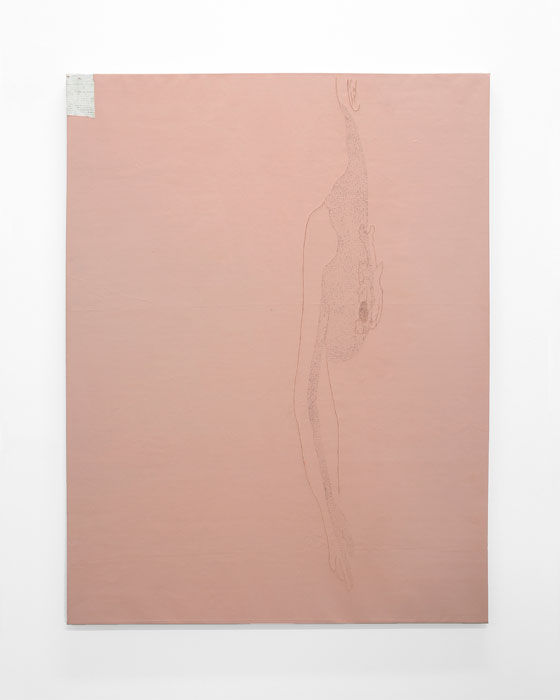 Aleksander Hardashnakov, Untitled (Heart) , 2012, oil, gesso, gouache, acrylic, linen on linen, 62 x 48 in