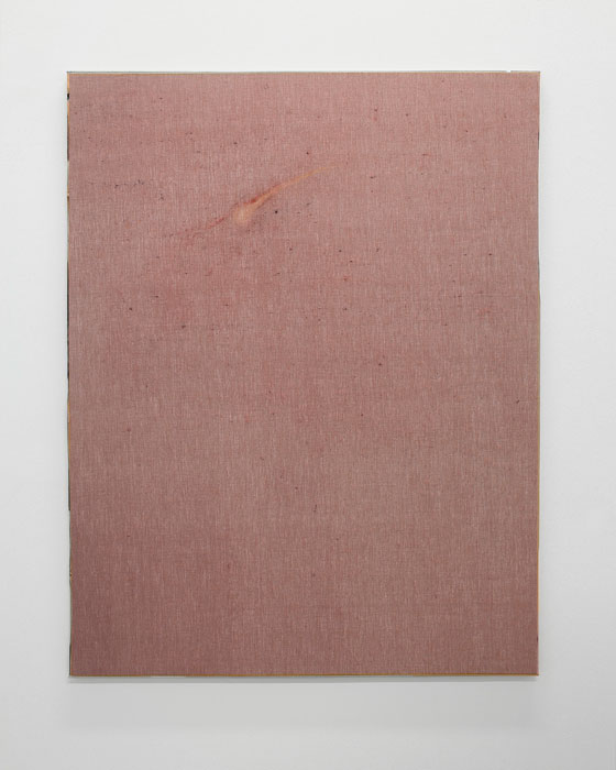 Aleksander Hardashnakov,  Comet , 2012, oil, fabric dye, bleach on linen with artist's frame, 62 x 48 in