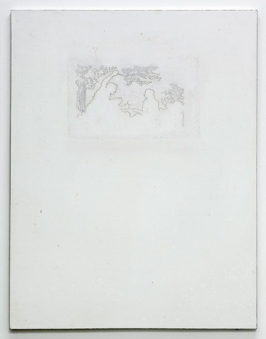 Aleksander Hardashnakov,  Pomegranate Pamphlet , 2012, oil, gesso, rubber, cigarette burns on canvas, 62 x 48 in