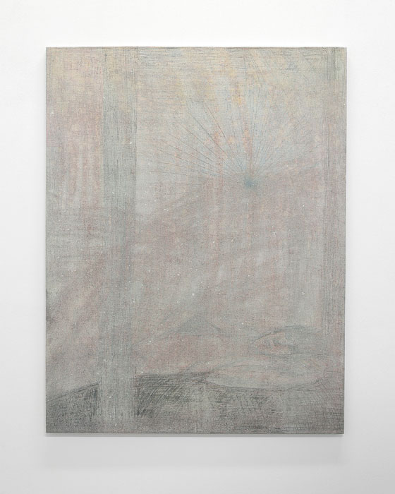 Aleksander Hardashnakov, Dust Nap ,2012,oil, gesso, bleach, colored pencil, spray fix on linen,62 x 48 in
