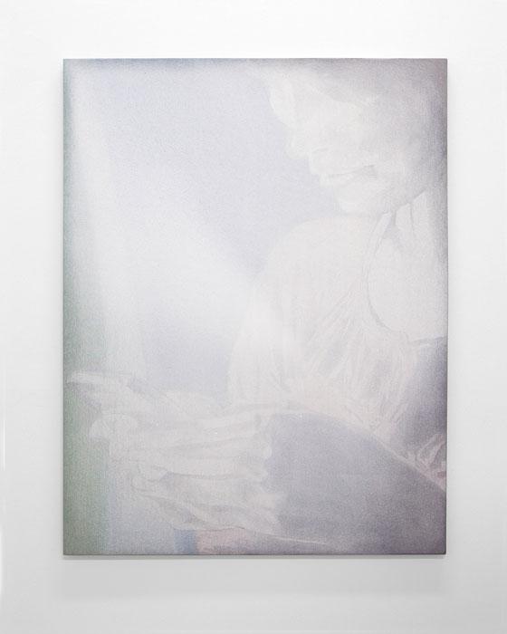 Aleksander Hardashnakov, onika ,2012,oil, fabric dye, gesso on canvas,62 x 48 in