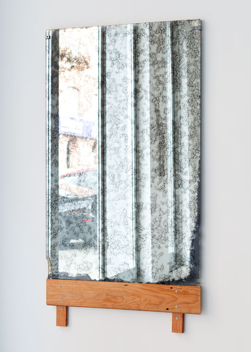 Ryan Foerster,  fake mirror,  2012, corroded mirror, wood, 53 x 34.5 in