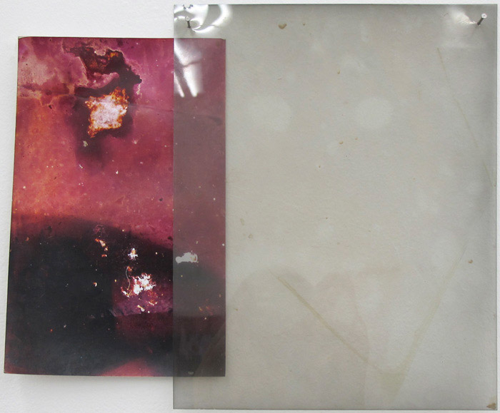 Ryan Foerster,  Untitled,  2012, corroded C-print and photographic negative, 10 x 12.25 in