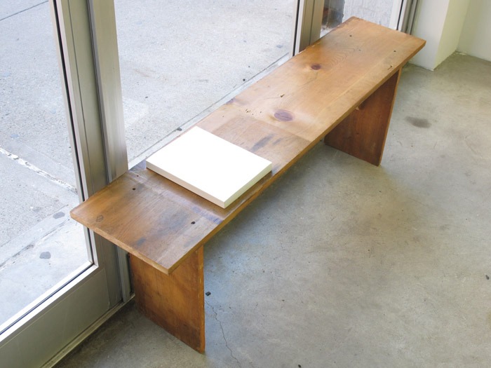 Ryan Foerster,  Another Bench With Jose , 2012, recycled wood, 19 x 55 x 11.5 in