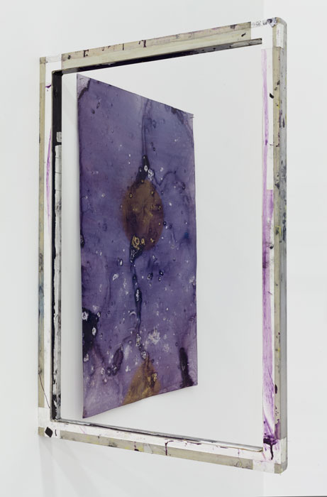 Ryan Foerster,  L: Window Frame R: Purple Universe - printing plate , 2012, aluminum, Kwik Print emulsion, dimensions variable