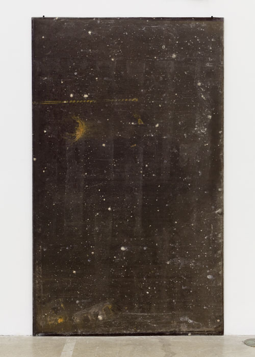 Ryan Foerster,  Interval lunar eclipse glass , 2012, found glass, rust, dirt, 59 3/4 x 36 in