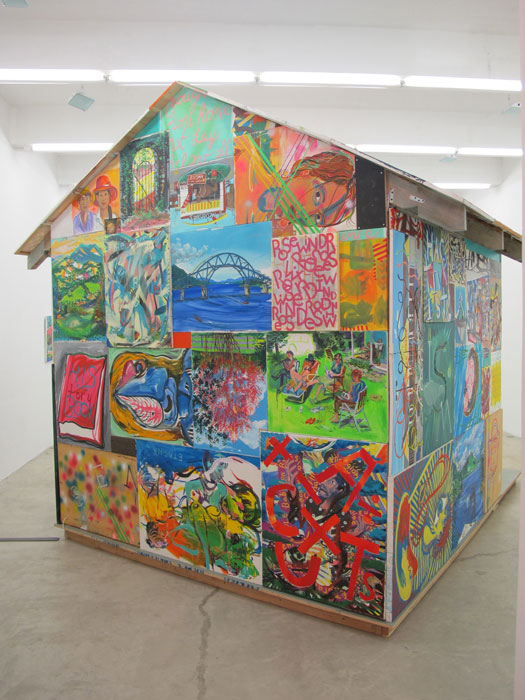 Andy Cross,  House Painter , 2012, paintings, construction materials, 125 x 137 x 144 in (back)