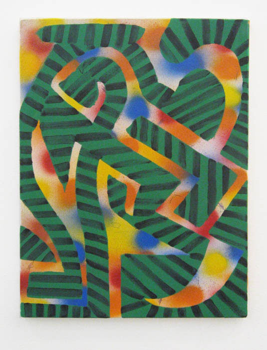 Andy Cross,  Greenfelt Jungle , 2012, oil, spray paint on canvas, 16 x 12 in