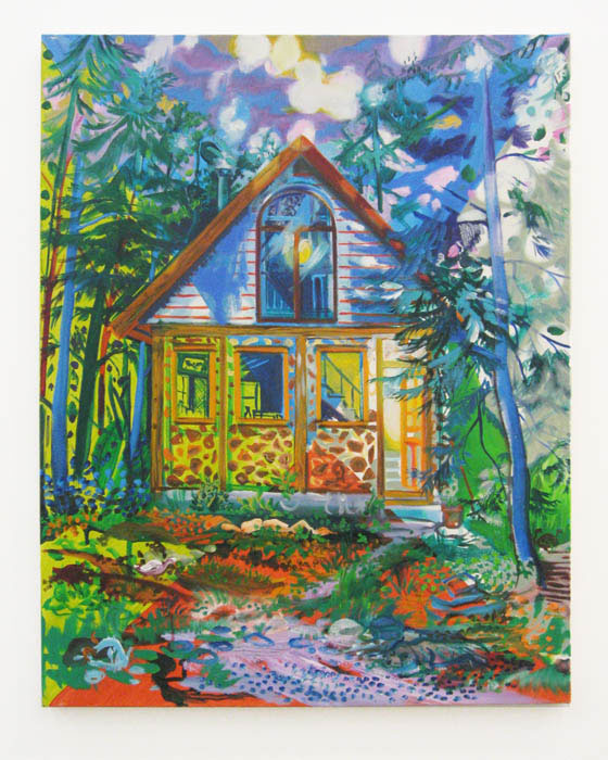 Andy Cross,  Cord Wood Cabin , 2010, oil on canvas, 30 x 24 in