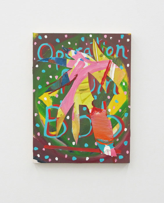 Andy Cross,  Operation Plum Bob,  2012, oil and collaged canvas on panel, 16 x 12 in