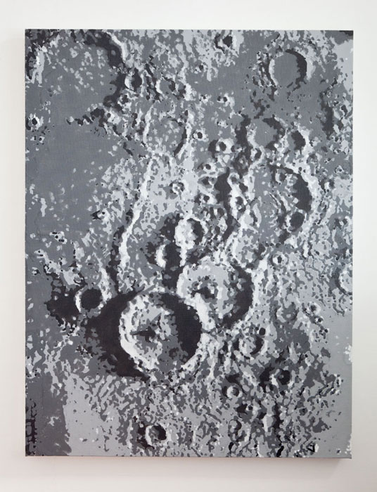 David Malek,  Theophilus, Cyrillus & Catharina , 2012, enamel on canvas, 30 x 23 in