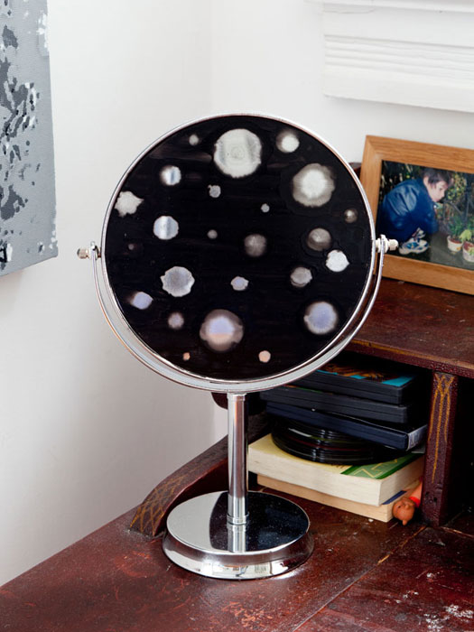 Lisa Beck,  Observer,  2012, chrome pedestal mirror, enamel paint, 13.5 x 9 x 4.5 in