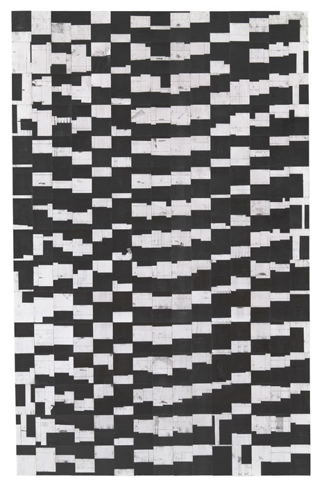 Agnes Lux,  #35-1.25 , 2012, graphite on postcards, 82.68 x 52.2 in