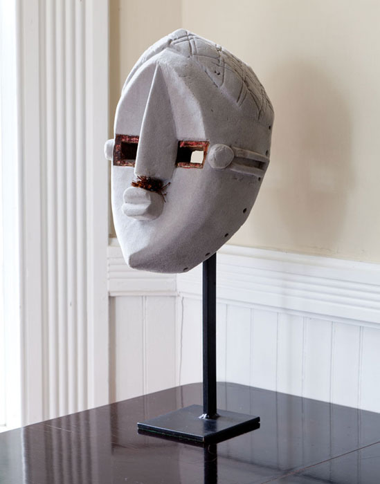 Keith Sonnier,  Mr. Smith (Flocked Relic Series) , 2011, African mask, flocking, 19.5 x 7 x 6 in