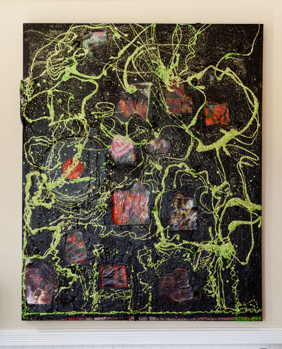 Chris Martin,  Garden at 11 Munn St. , 2008-2012, oil and collage on canvas, 52.125 x 42.25 in