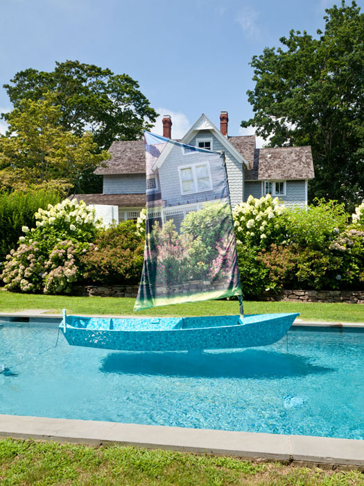 Aaron Suggs,  Untitled (Camouflage Dinghy) , 2011-2012, plywood, fibergalss, epoxy resin, paint, vehicle wrap vinyl, inkjet on polyester, rope, stainless steel boat hardware, 120 x 54 x 120 in