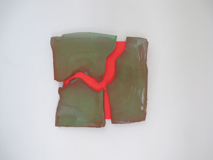 Mary Heilmann,  San Andreas , 2012, glazed ceramic on painted wood, 8.75 x 9 in