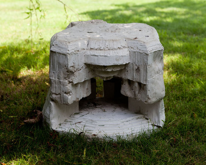 Andra Ursuta,  A Worm's Dream Home , 2012, cast concrete, 20.5 x 15.5 x 14 in (front)