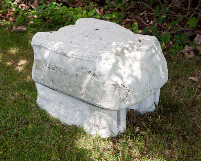 Andra Ursuta,  A Worm's Dream Home , 2012, cast concrete, 20.5 x 15.5 x 14 in (side)