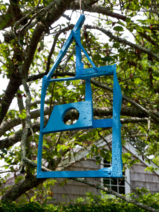 Chris Johanson,  Found Wood Painted Blue Bird Sculpture #1 , 2012, found wood and acrylic, 21 x 11 in
