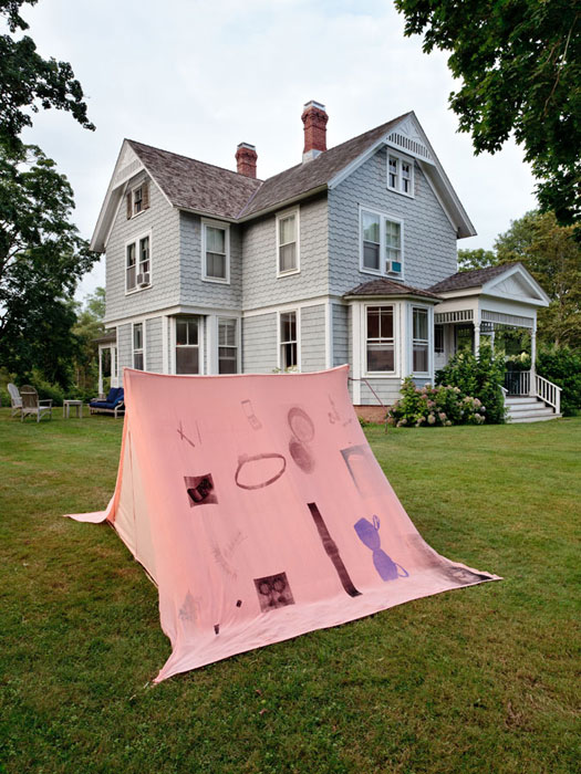 Servane Mary,  Untitled (Tent) , 2012, silkscreen on fabric, wood, 52 x 74 x 75 in