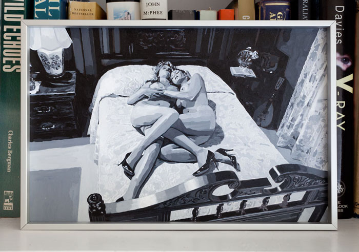 Aura Rosenberg,  The Golden Age (2 Women on Bed b/w) , 2012, acrylic, 8 x 11 in