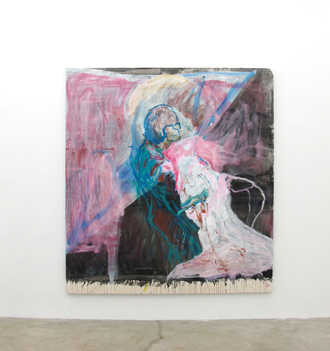 Chris Churchill,  Torn Curtain , 2012, acrylic, airbrush paint and crayon on canvas, 87 x 80 in