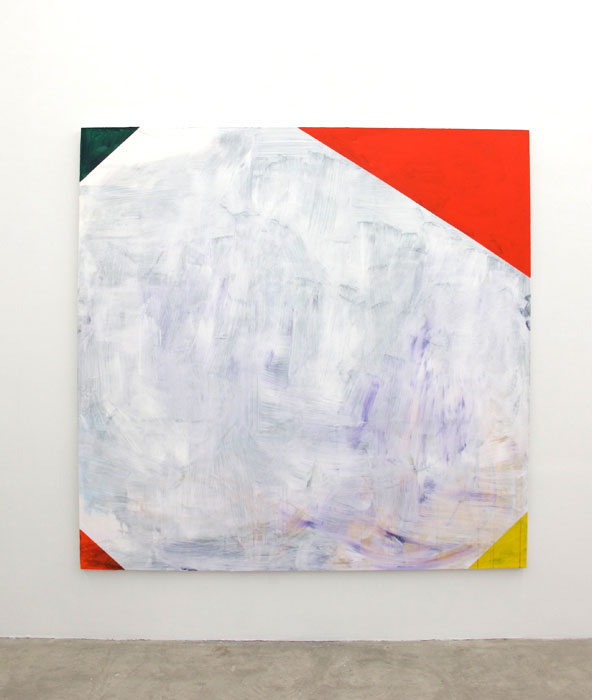 Chris Churchill,  White Corners , 2012, acrylic, spray paint and charcoal on canvas, 76 x 78 in