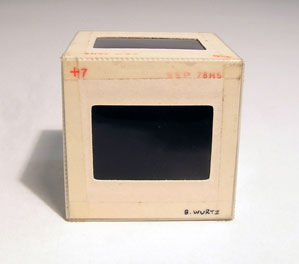 B. Wurtz,  10 - Slide Cube  (detail), 1979, 35 mm slides, dimensions variable