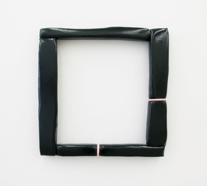 Justin Adian,  Loveless , 2011, oil enamel on canvas and ester foam, 27 x 27 x 2.5 in