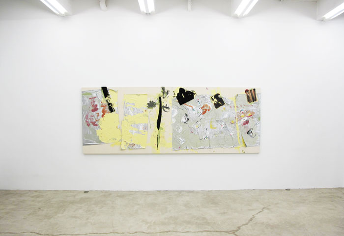 Leif Ritchey,  Lemon Light,  2011, mixed media on fabric, 54 x 146 in