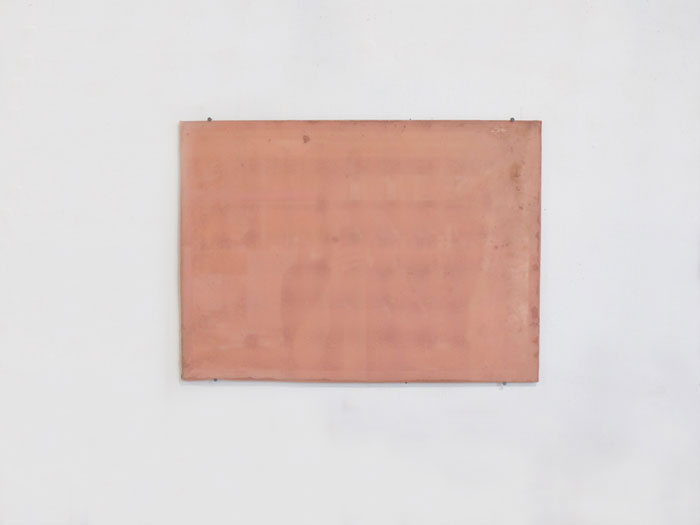 Servane Mary,  Untitled (Pink Monochrome Mirror) , 2011, mirror, silk, 13 x 18 in