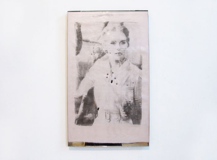 Servane Mary,  God Dies , 2011, solvent transfer on silk, 22 x 13 in