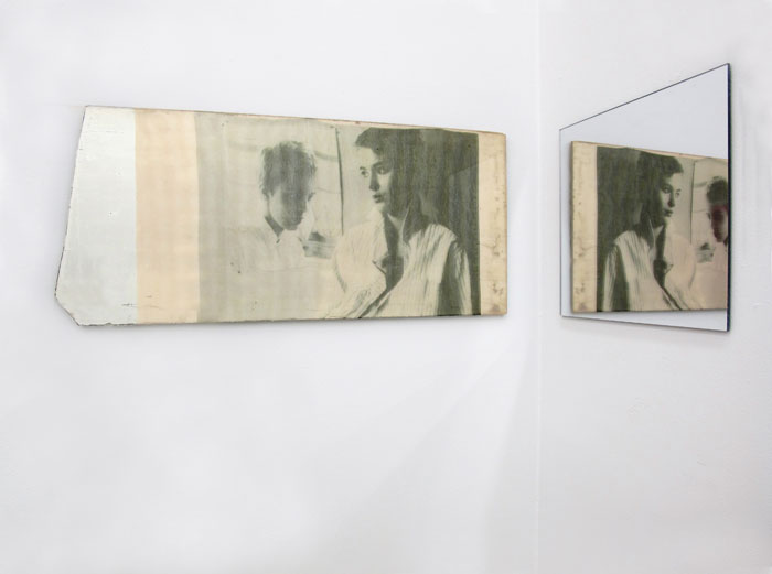 Servane Mary,  Untitled (Jean Seberg and The Mirror) , 2012, mirror and pigment printed silk, mirrored Plexiglas, dimensions variable