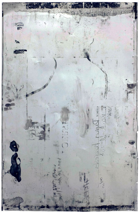 Ryan Foerster,  reversed aluminum printing plate , 2008, aluminum and ink, 35 x 23 in