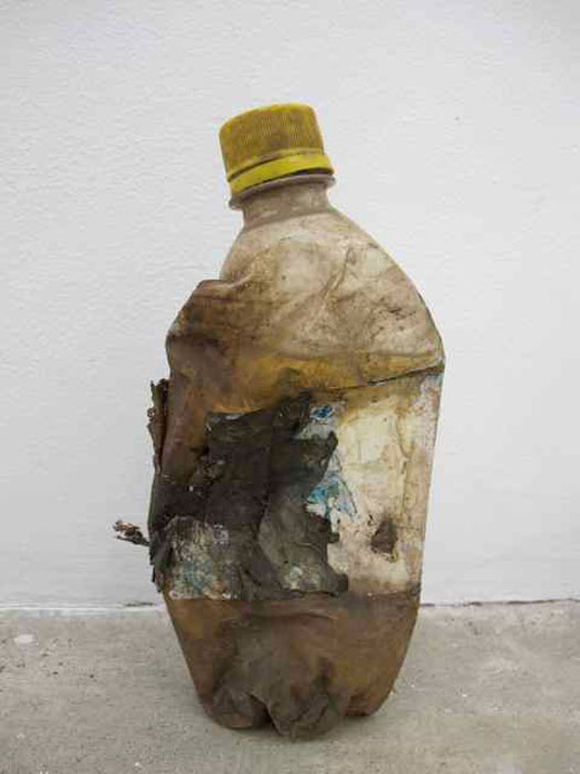 Ryan Foerster and Ben Schumacher,  Piss bottle,  2012, crumpled Pepsi bottle, piss, dimensions variable