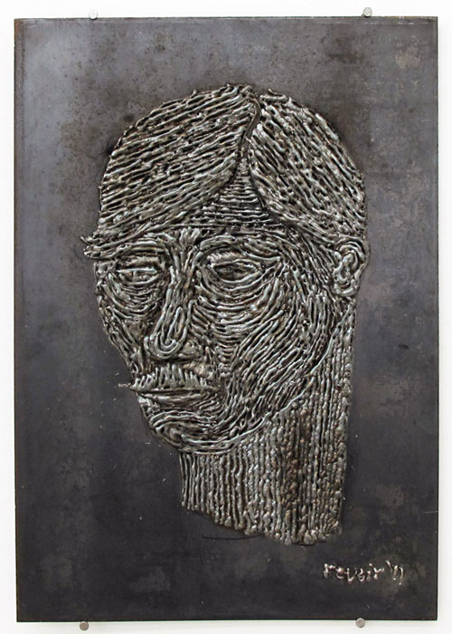 Grayson Revoir,  Portrait of Loren Kramar , 2011, welding, steel, 21 x 15 in