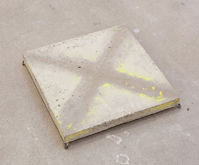 Davina Semo,  X MARKS THE ROT,  2011, chain, wire, spray paint transfer on reinforced concrete, 16 x 16 x 2.75 in