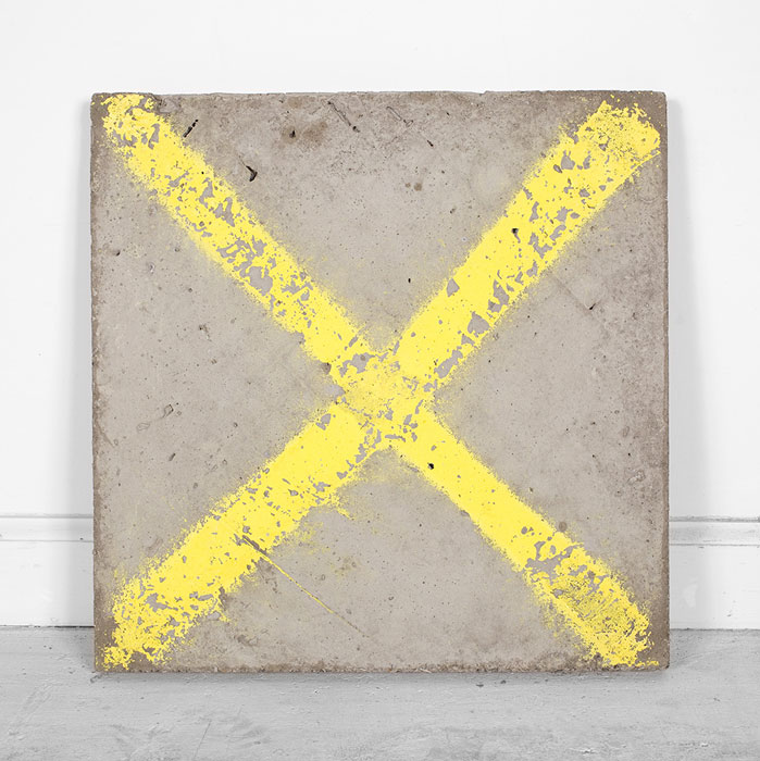 Davina Semo,  X MARKS THE ROT,  2011, spray paint transfer on reinforced concrete, 16 x 16 x 1.5 in